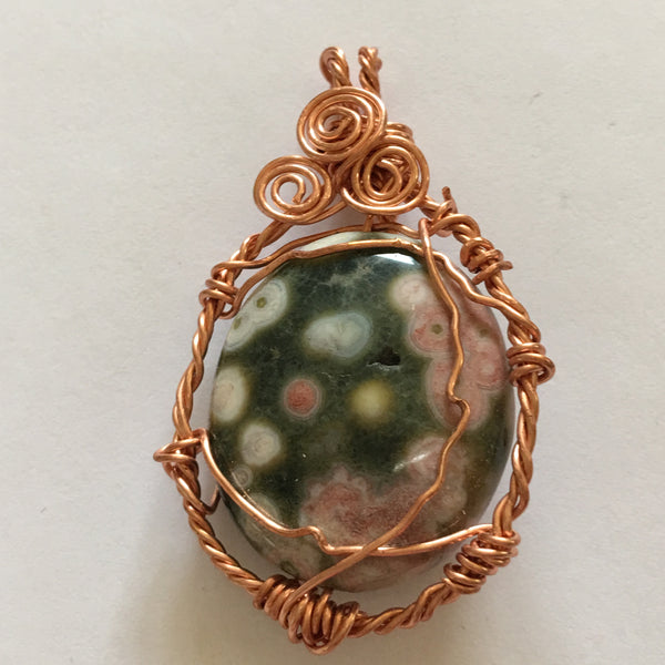 Ocean Jasper and Copper Wire Wrapped Pendant P37 now on sale