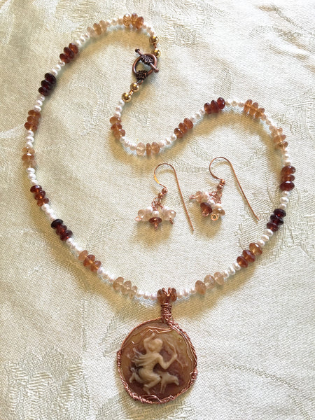 Freshwater Pearl and Citrine Necklace Set N79 just reduced