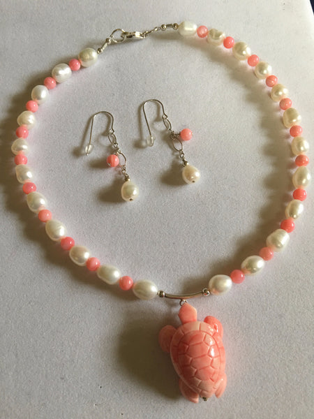 Coral , Pearl , and Mother of Pearl Necklace N17-10 just reduced
