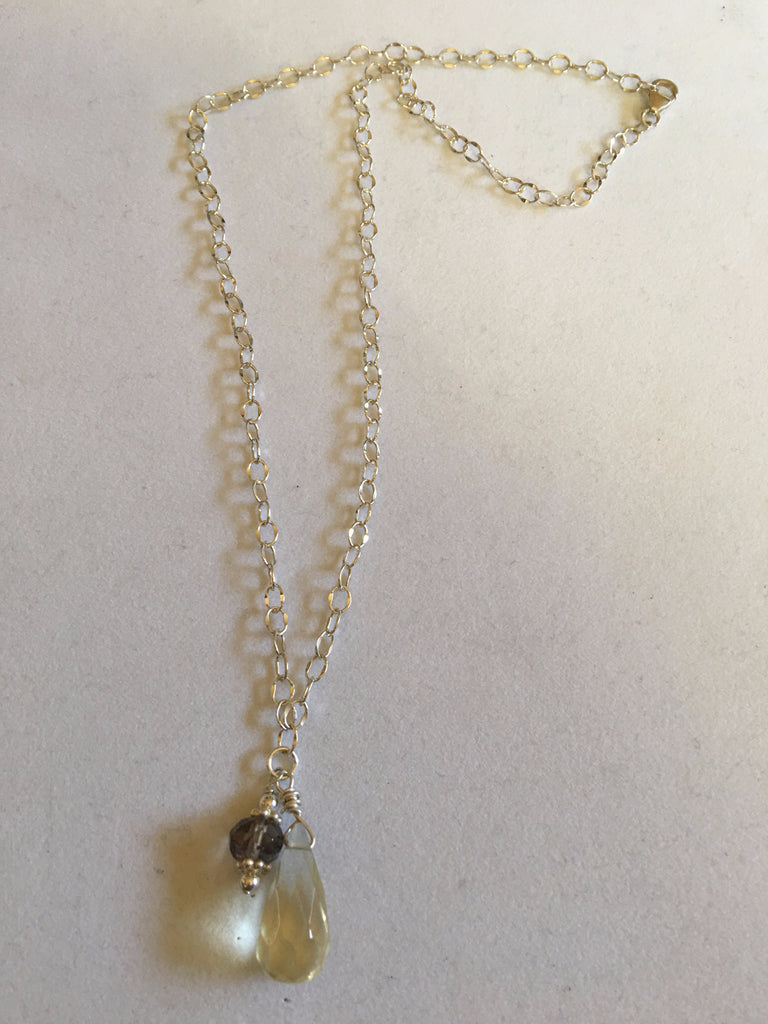 Lemon Quartz and Smokey Quartz Necklace N17-11 newly marked down