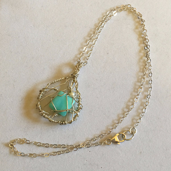Blue opal and sterling pendant P17-2 now on clearance