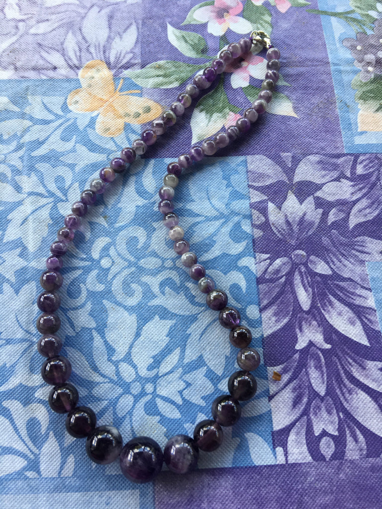 Graduated Amethyst Bead Necklace ETC7 *