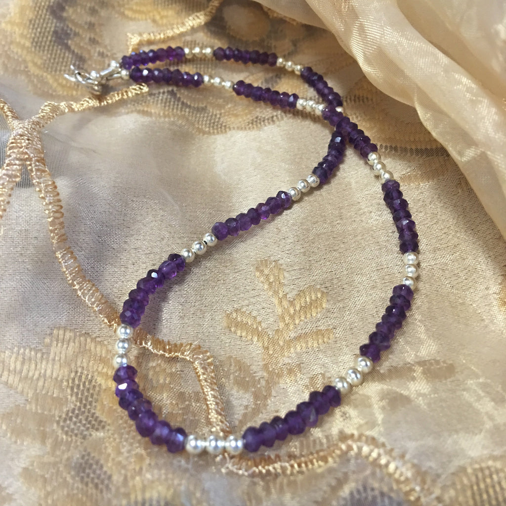 Faceted Amethyst Rondelle and Sterling Silver Necklace N84 just reduced