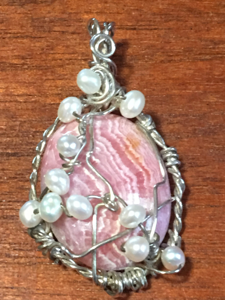 Rhodochrosite, Pearl , and Sterling Pendant P18-1 recently reduced