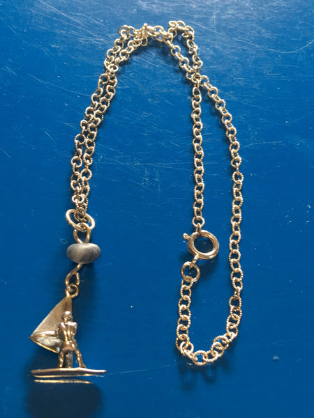 Sterling and Sodalite Wind Surfer Necklace N89 recently reduced