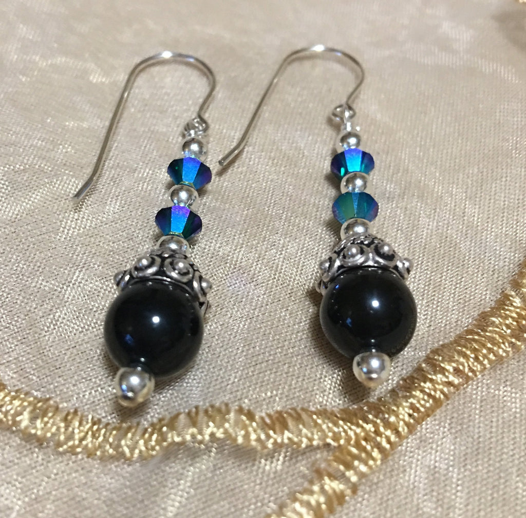 Black Obsidian and Swarovski Crystal Earrings E76 just reduced