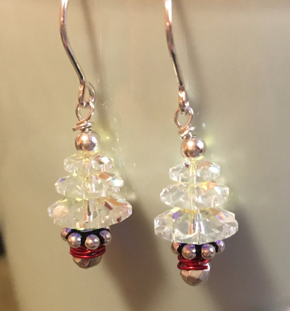 Swarovski Crystal AB Christmas tree earrings E81