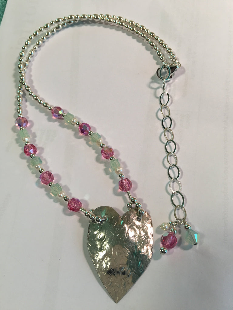 Hammered Heart Shape and Beaded Necklace N130 Price Just Reduced!