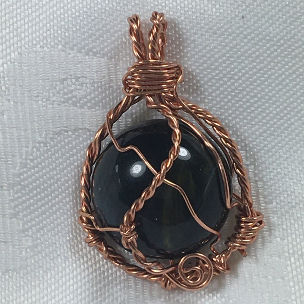Blue Tigereye Pendant P42 in copper for Fall!