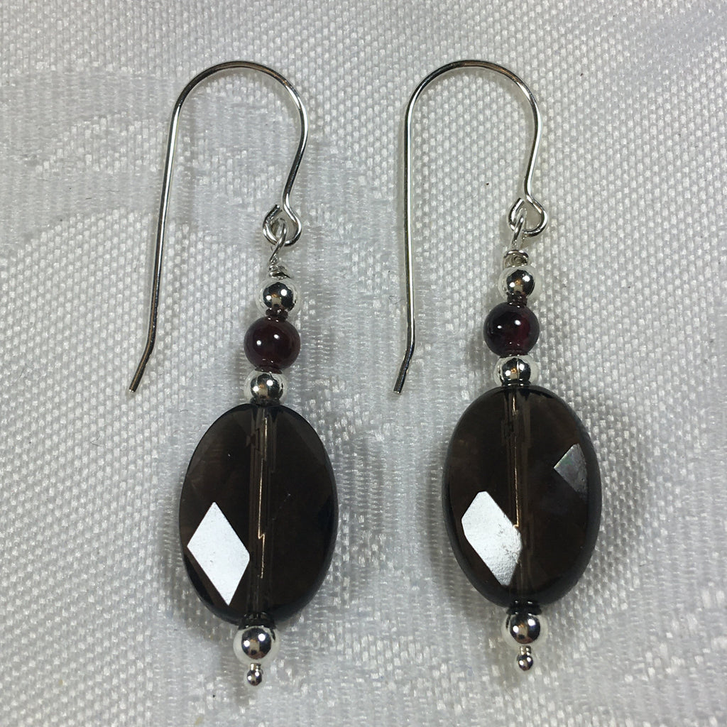 Faceted Smokey Quartz, Garnet , and Sterling Silver Earrings E94 New for Fall