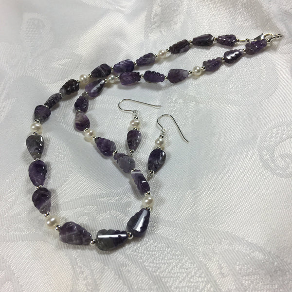 Amethyst  and Cultured Pearl Necklace N136 New for Fall