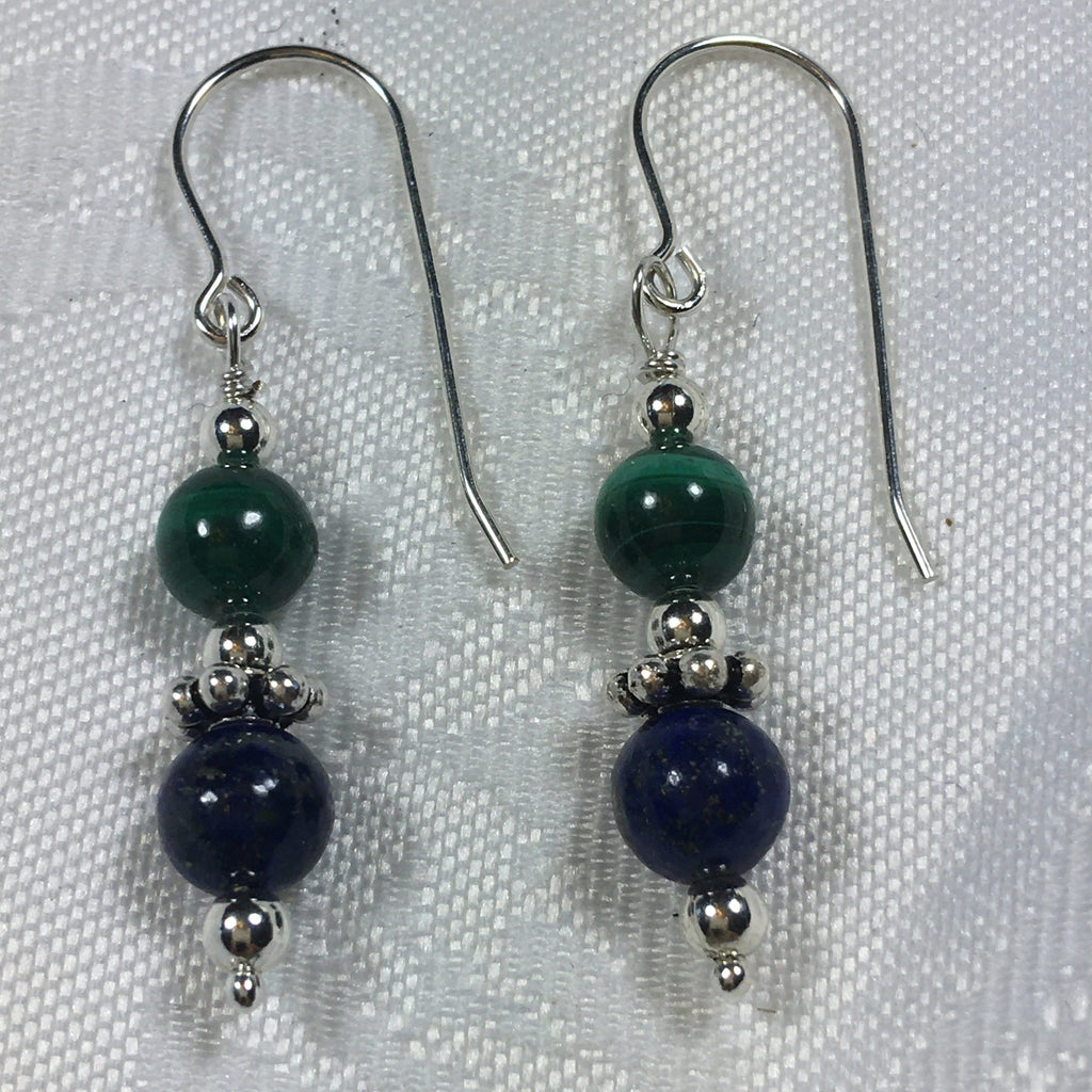 Malachite, Lapis Lazuli, and Sterling Silver Earrings E92 New for fall