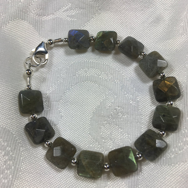 Faceted Labradorite and Sterling Silver Bracelet B93 New for fall