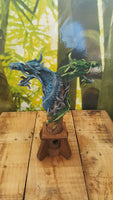 2 headed dragon wooden Incense Holder - Green/Blue - Pure & Simple Holistic
