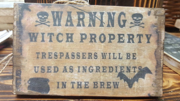 Warning Witch Property Wooden Plaque