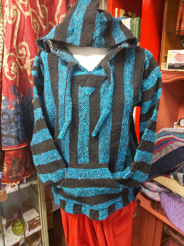 Baja Hoodie -Blue/Black Striped