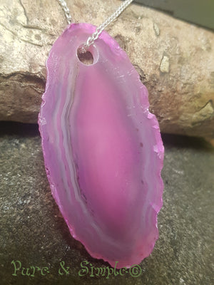 Pink Agate Sliced Pendant