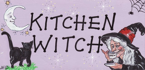 """Kitchen Witch"" Witch Plaque - Pure & Simple Holistic"