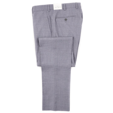 Luigi Bianchi Gray-Blue Check Wool Pants
