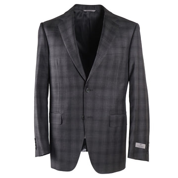 Canali Gray Layered Check Wool Suit