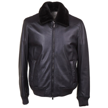 Cesare Attolini Deerskin Leather Jacket with Fur Collar - Top Shelf Apparel
