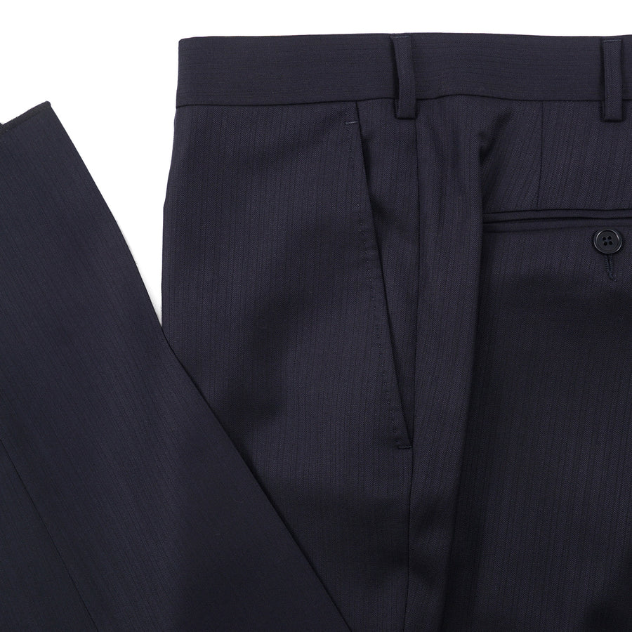 Ermenegildo Zegna Navy Blue Wool and Silk Suit - Top Shelf Apparel
