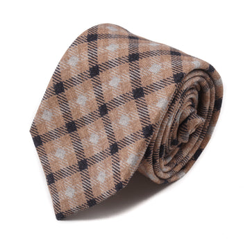 Isaia Soft Wool Tie with Check Print