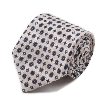 Isaia Silk Tie with Floral Medallion Print