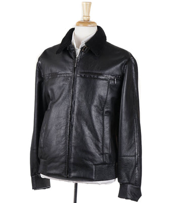 Brioni Shearling Leather Jacket with Alligator Details