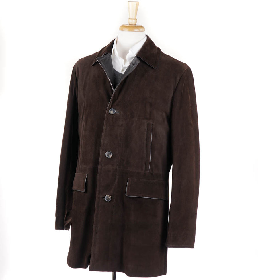 Brioni Chocolate Suede Coat with Cashmere Lining