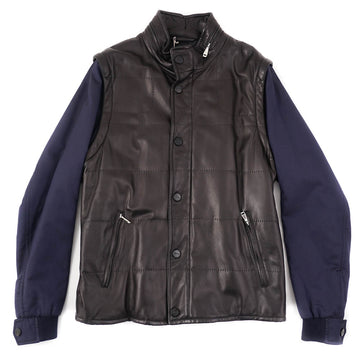 Brioni 2-in-1 Leather Jacket with Detachable Sleeves - Top Shelf Apparel