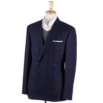Brunello Cucinelli Blue Check Linen-Wool-Silk Sport Coat