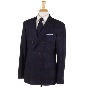 Brunello Cucinelli Brown and Blue Plaid Soft Wool Suit