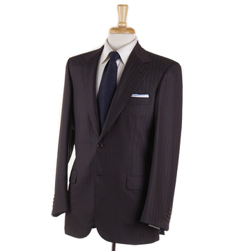 Brioni Dark Brown Stripe Wool and Silk Suit