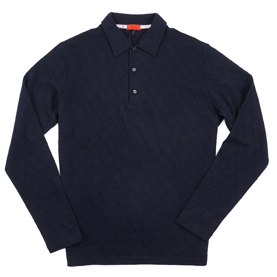 Isaia Long Sleeve Wool and Cotton Polo Shirt - Top Shelf Apparel