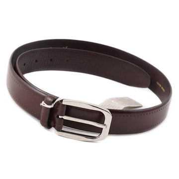 Brioni Burgundy Leather Belt with Punched Detail