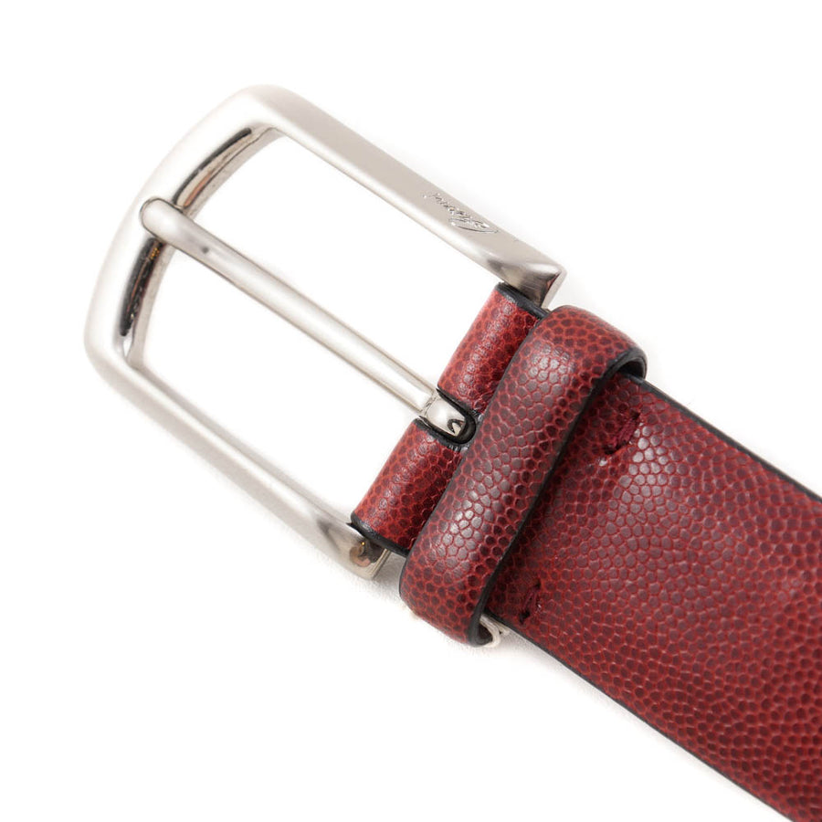 Brioni Red Pebble Grained Leather Belt