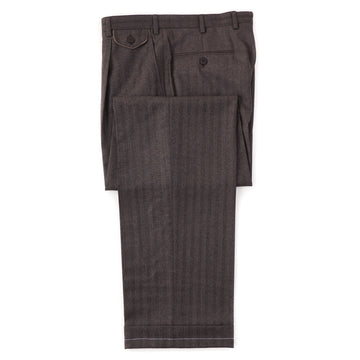 Brioni Brown Herringbone Wool-Cashmere Pants