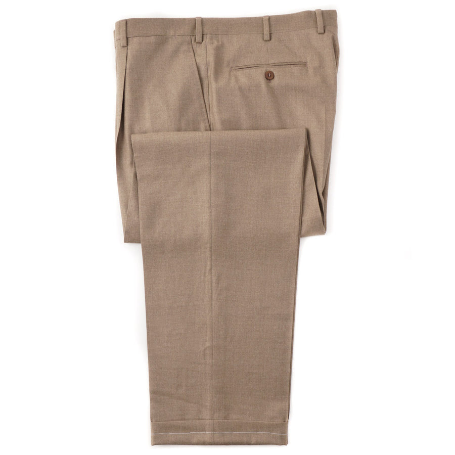 Brioni Heathered Tan Flannel Wool Dress Pants