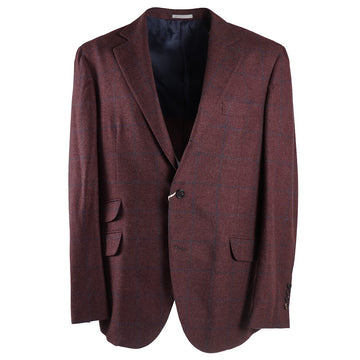 Brunello Cucinelli Burgundy Wool-Silk-Cashmere Sport Coat