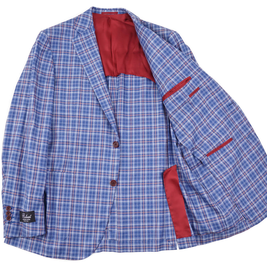 Belvest Sky Blue Check Silk-Linen Sport Coat