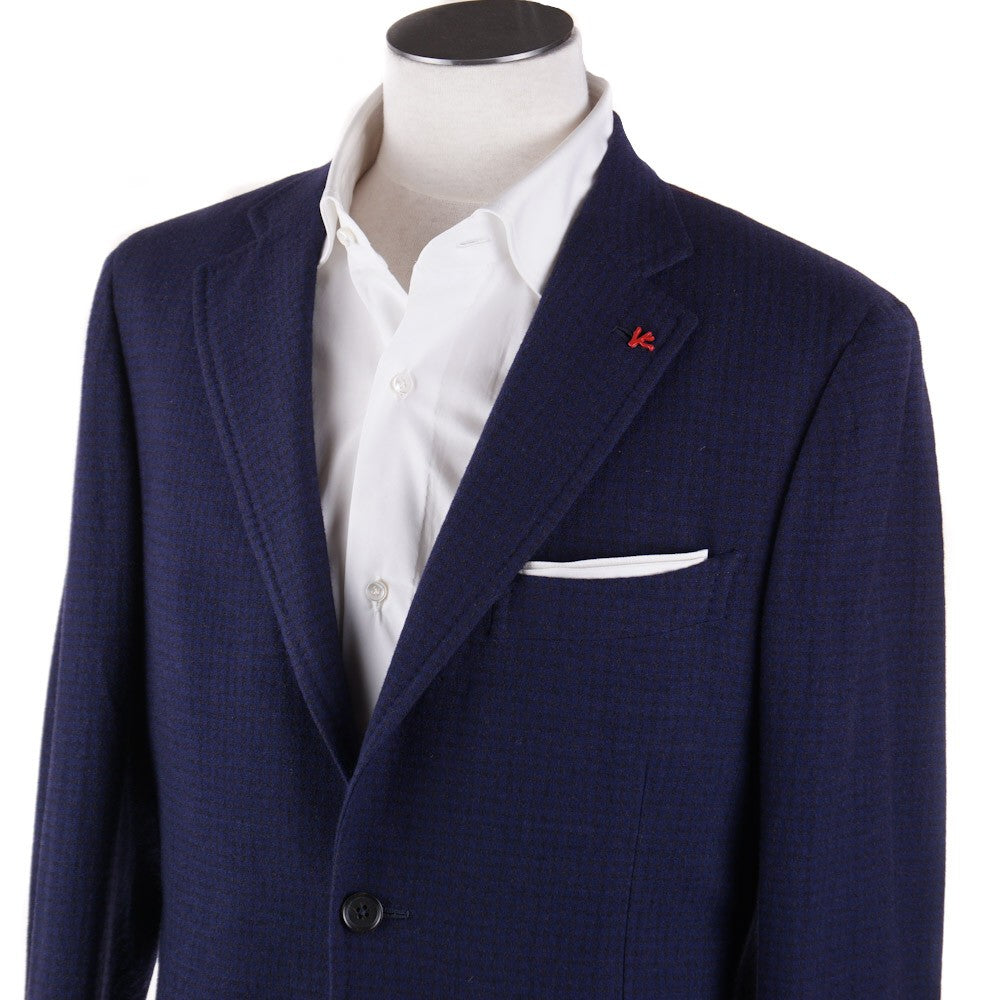 ab61b39bb96 Isaia Dark Blue Patterned Wool-Cashmere Sport Coat – Top Shelf Apparel