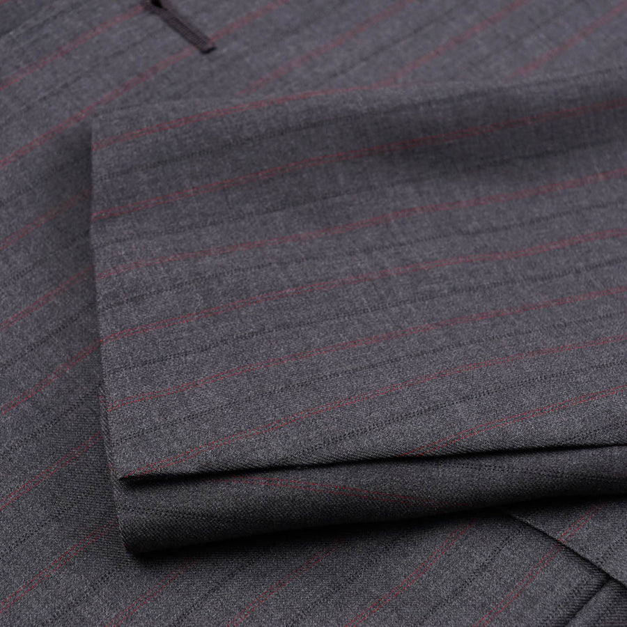 Isaia Gray Stripe Super 140s Wool Suit