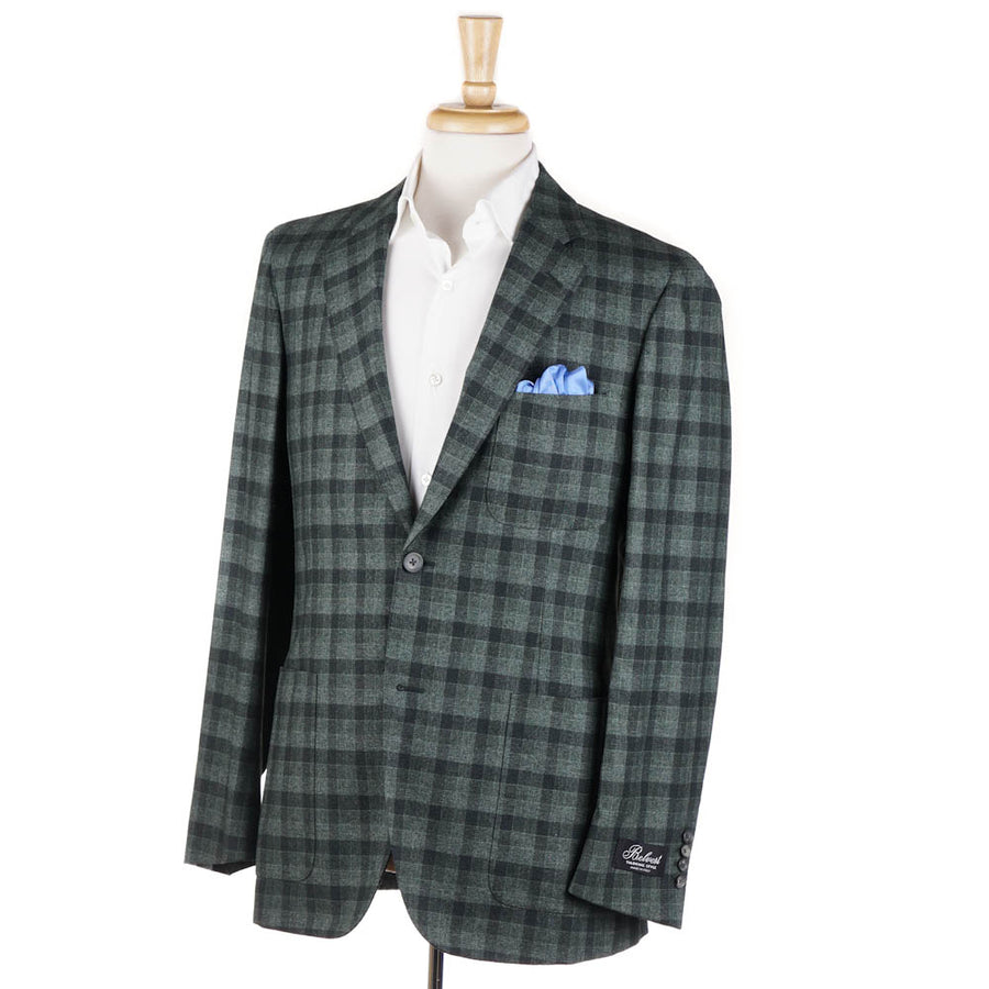 Belvest Green Check Wool-Silk-Cashmere Sport Coat