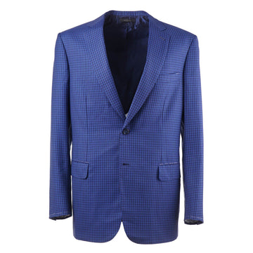 Brioni Bright Blue Check Wool Sport Coat