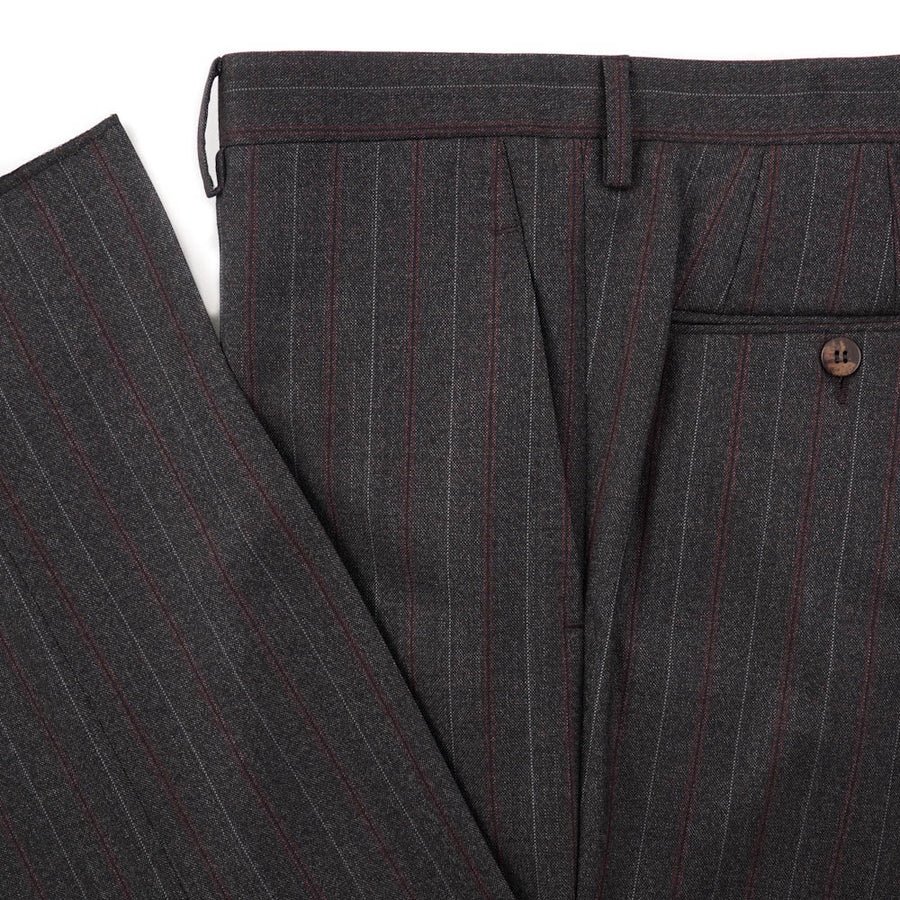 Kiton Brown and Burgundy Stripe Wool Suit