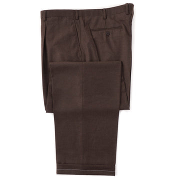 Brioni Chocolate Brown Flannel Wool Dress Pants