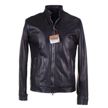 Barba Napoli Lambskin Leather Moto Jacket - Top Shelf Apparel