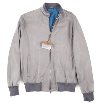 Barba Napoli Gray Leather Bomber Jacket