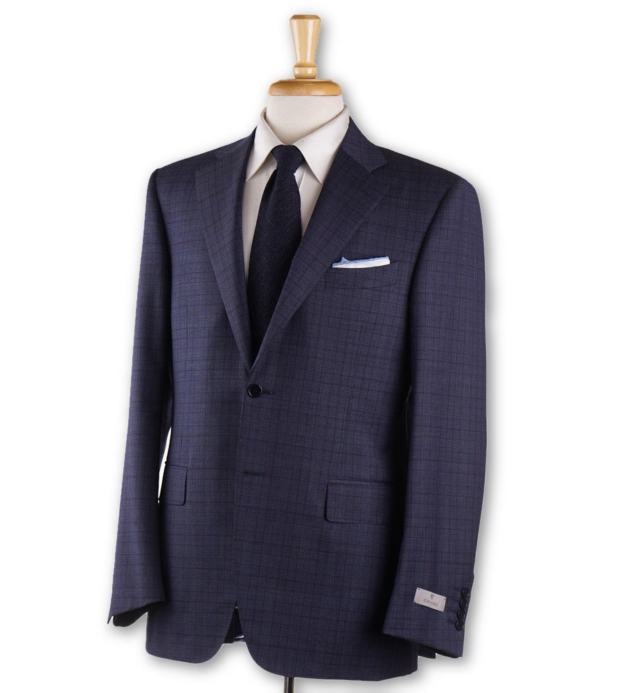 Canali Slate Blue and Plum Check Wool Suit - Top Shelf Apparel